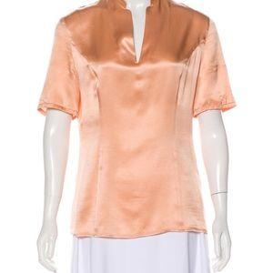 Armani peach silk short sleeve top